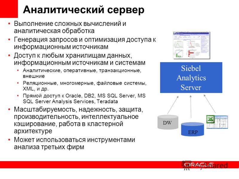 Аналитический сервер Выполнение сложных вычислений и аналитическая обработка Генерация запросов и оптимизация доступа к информационным источникам Доступ к любым хранилищам данных, информационным источникам и системам Аналитические, оперативные, транз
