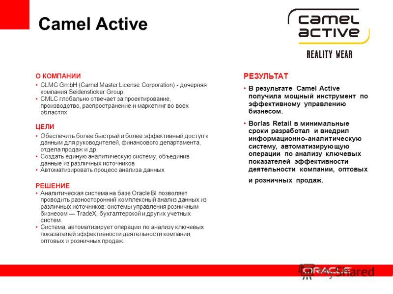 Camel Active О КОМПАНИИ CLMC GmbH (Camel Master License Corporation) - дочерняя компания Seidensticker Group. CMLC глобально отвечает за проектирование, производство, распространение и маркетинг во всех областях. ЦЕЛИ Обеспечить более быстрый и более