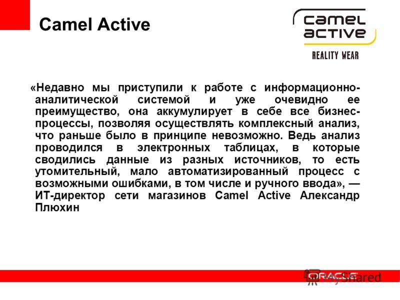 Camel Active «Недавно мы приступили к работе с информационно- аналитической системой и уже очевидно ее преимущество, она аккумулирует в себе все бизнес- процессы, позволяя осуществлять комплексный анализ, что раньше было в принципе невозможно. Ведь а