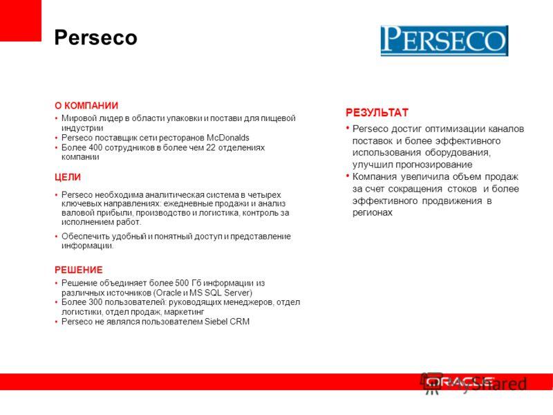Perseco О КОМПАНИИ Мировой лидер в области упаковки и постави для пищевой индустрии Perseco поставщик сети ресторанов McDonalds Более 400 сотрудников в более чем 22 отделениях компании ЦЕЛИ Perseco необходима аналитическая система в четырех ключевых