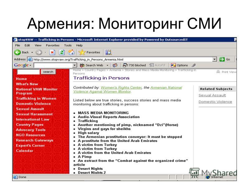 Армения: Мониторинг СМИ