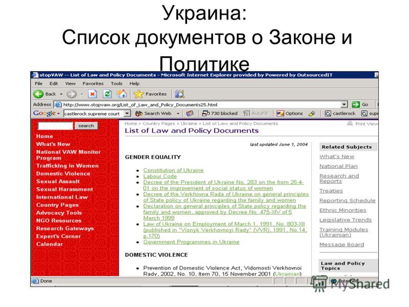 Украина: Список документов о Законе и Политике