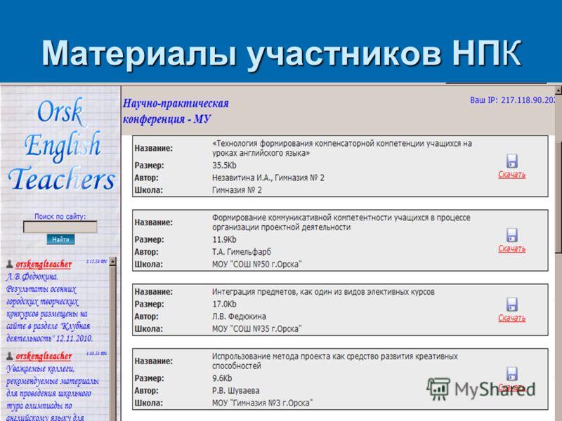Материалы участников НПК