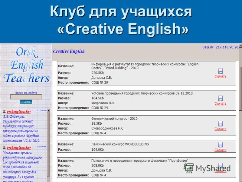 Клуб для учащихся «Creative English» Клуб для учащихся «Creative English»