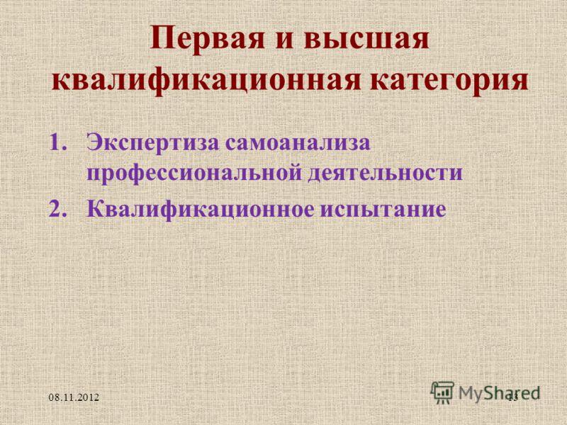 Первая и высшая квалификационная категория 1.Экспертиза самоанализа профессиональной деятельности 2.Квалификационное испытание 08.11.201213