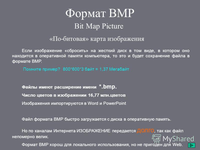 Формат BMP Если изображение «сбросить» на жесткий диск в том виде, в котором оно находится в оперативной памяти компьютера, то это и будет сохранение файла в формате BMP. Помните пример? 800*600*3 байт = 1,37 Мегабайт Файлы имеют расширение имени *.b