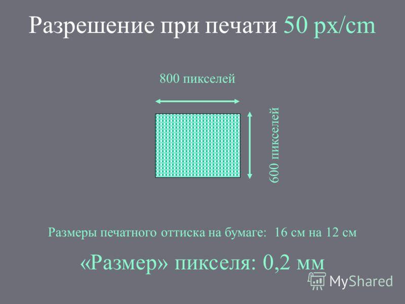 Разрешение при печати 50 px/cm 800 пикселей 600 пикселей Размеры печатного оттиска на бумаге: 16 см на 12 см «Размер» пикселя: 0,2 мм