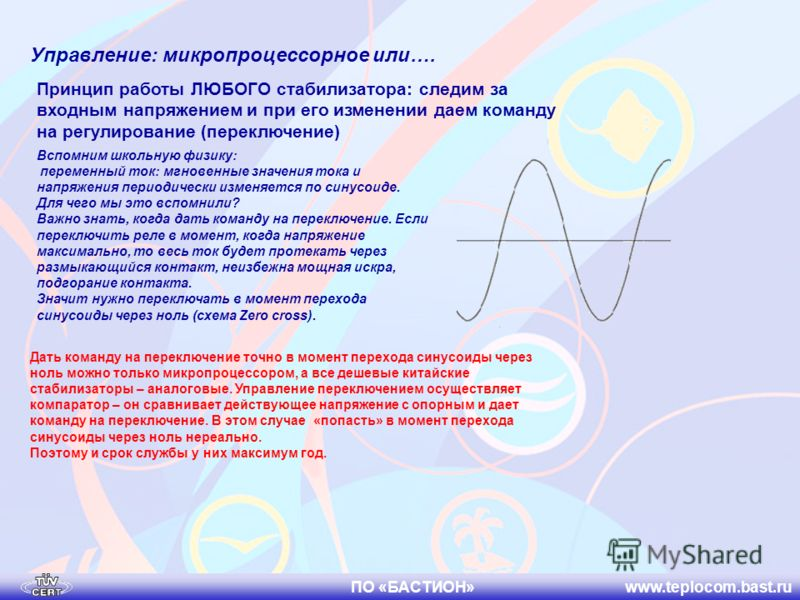 ПО «БАСТИОН» www.teplocom.bast.ru Управление: микропроцессорное или…. Принцип работы ЛЮБОГО стабилизатора: следим за входным напряжением и при его изменении даем команду на регулирование (переключение) Вспомним школьную физику: переменный ток: мгнове