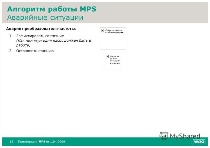 12Презентация MPS от 1.04.2009 Алгоритм работы MPS Аварийные ситуации Авария преобразователя частоты: 1.Зафиксировать состояние (Как минимум один насос должен быть в работе) 2.Остановить станцию