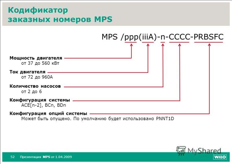 52Презентация MPS от 1.04.2009 Кодификатор заказных номеров MPS MPS /ppp(iiiA)-n-CCCC-PRBSFC Мощность двигателя от 37 до 560 кВт Ток двигателя от 72 до 960А Количество насосов от 2 до 6 Конфигурация системы ACE[n-2], BCn, BDn Конфигурация опций систе
