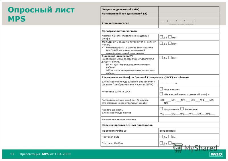 57Презентация MPS от 1.04.2009 Опросный лист MPS