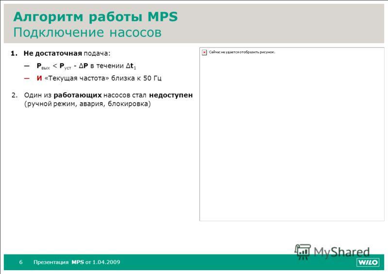 6Презентация MPS от 1.04.2009 Алгоритм работы MPS Подключение насосов 1.Не достаточная подача: P вых < P уст - ΔP в течении Δt 1 И «Текущая частота» близка к 50 Гц 2.Один из работающих насосов стал недоступен (ручной режим, авария, блокировка)