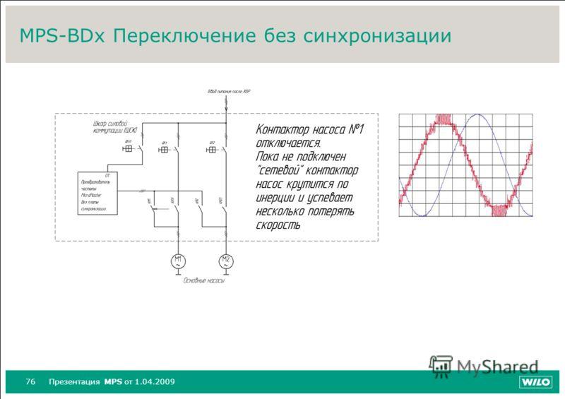 76Презентация MPS от 1.04.2009 MPS-BDx Переключение без синхронизации