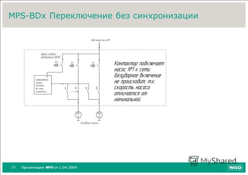 77Презентация MPS от 1.04.2009 MPS-BDx Переключение без синхронизации