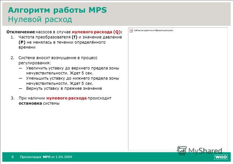 8Презентация MPS от 1.04.2009 Алгоритм работы MPS Нулевой расход Отключение насосов в случае нулевого расхода (Q): 1.Частота преобразователя (f) и значение давление (P) не менялась в течении определённого времени 2.Система вносит возмущение в процесс