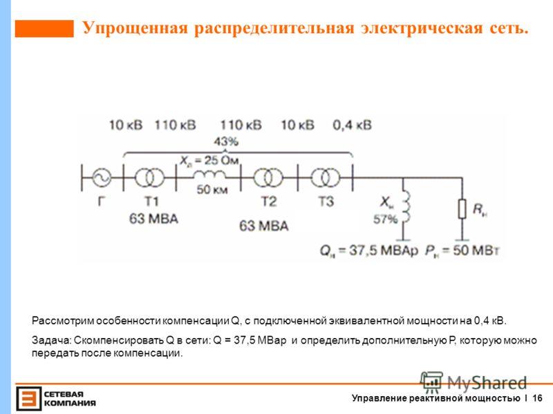 Управление реактивной мощностью I 15 Компенсация реактивной мощности при помощи конденсаторов. Достоинства БК 1.Не требуется постоянного дежурного персонала. 2.Минимальные потери активной мощности составляют 0,3- 0,45% от номинальной мощности БК. 3.Н