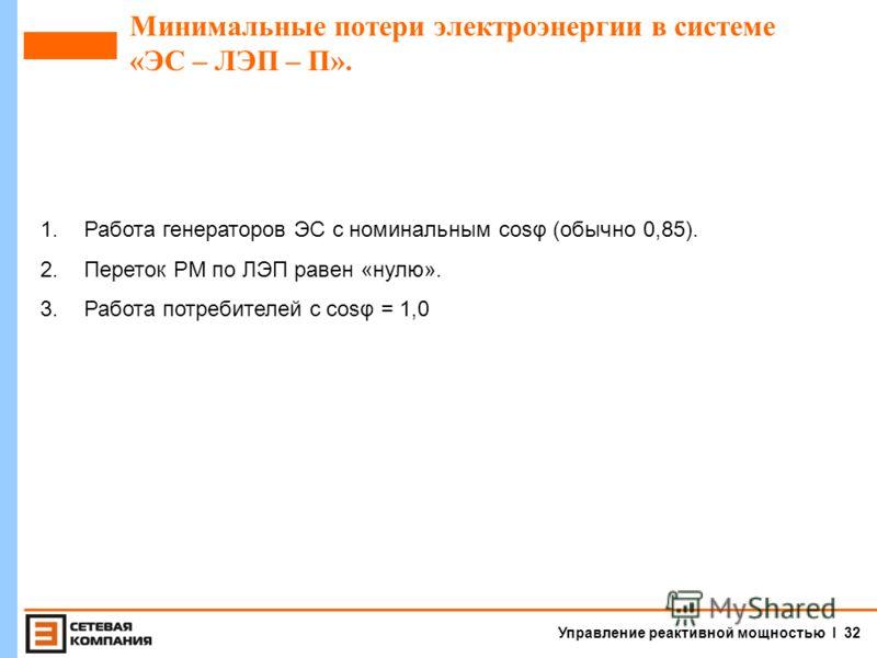 Управление реактивной мощностью I 31 Источники реактивной мощности на базе УШР 220, 330-500 кВ.