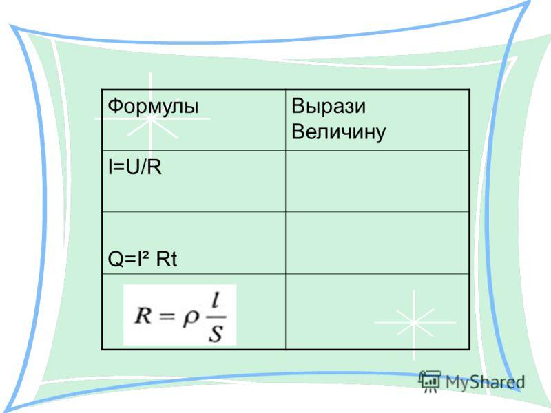 ФормулыВырази Величину I=U/R Q=I² Rt