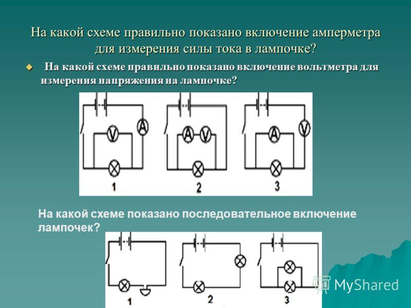 На какой схеме правильно показано включение амперметра для измерения силы тока в лампочке? На какой схеме правильно показано включение вольтметра для измерения напряжения на лампочке? На какой схеме правильно показано включение вольтметра для измерен