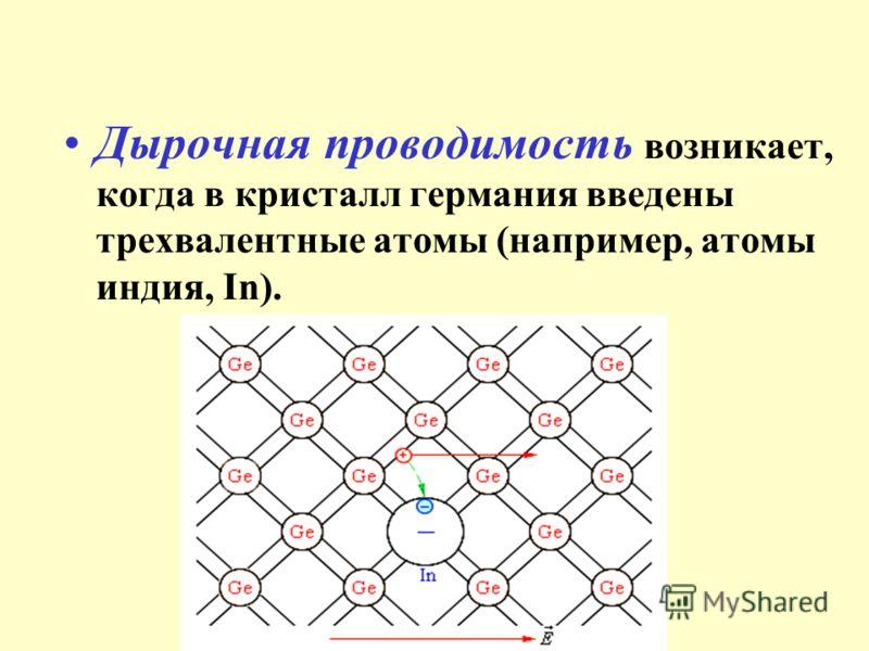 Дырочная проводимость возникает, когда в кристалл германия введены трехвалентные атомы (например, атомы индия, In).