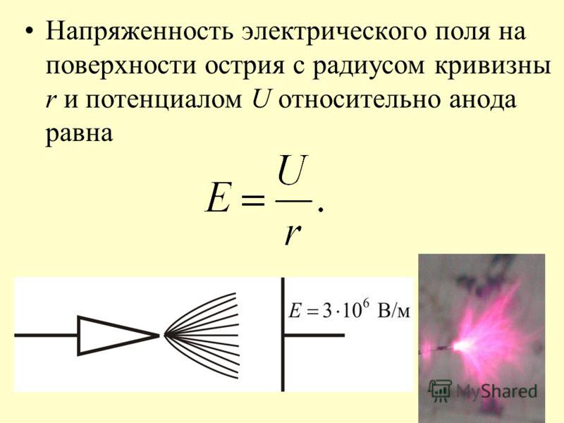 Напряженность электрического поля на поверхности острия с радиусом кривизны r и потенциалом U относительно анода равна