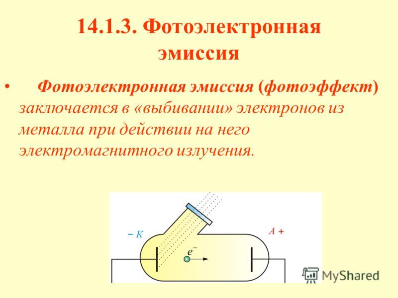 14.1.3. Фотоэлектронная эмиссия Фотоэлектронная эмиссия (фотоэффект) заключается в «выбивании» электронов из металла при действии на него электромагнитного излучения.