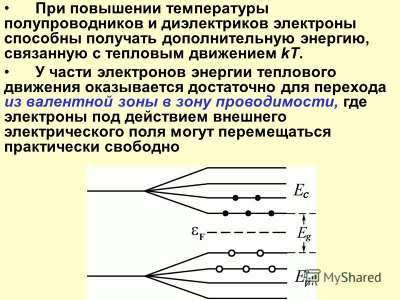 При повышении температуры полупроводников и диэлектриков электроны способны получать дополнительную энергию, связанную с тепловым движением kT. У части электронов энергии теплового движения оказывается достаточно для перехода из валентной зоны в зону