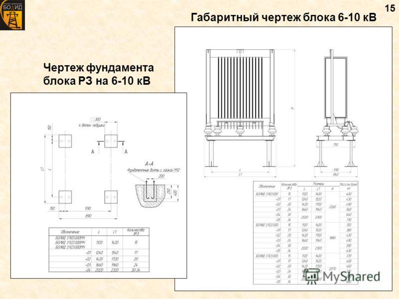 15 Габаритный чертеж блока 6-10 кВ Чертеж фундамента блока РЗ на 6-10 кВ