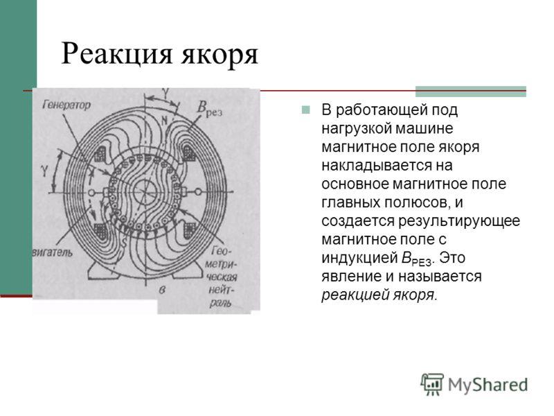 Реакция якоря В работающей под нагрузкой машине магнитное поле якоря накладывается на основное магнитное поле главных полюсов, и создается результирующее магнитное поле с индукцией В РЕЗ. Это явление и называется реакцией якоря.