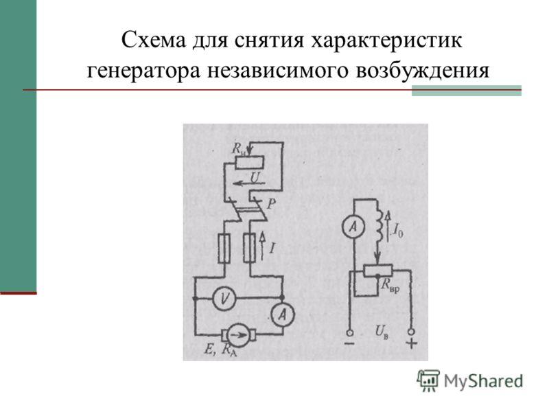 Схема для снятия характеристик генератора независимого возбуждения