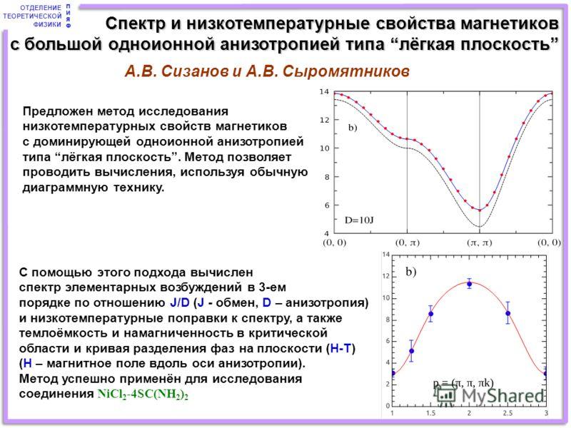 ОТДЕЛЕНИЕ ТЕОРЕТИЧЕСКОЙ ФИЗИКИ ПИЯФПИЯФ Предложен метод исследования низкотемпературных свойств магнетиков с доминирующей одноионной анизотропией типа лёгкая плоскость. Метод позволяет проводить вычисления, используя обычную диаграммную технику. С по