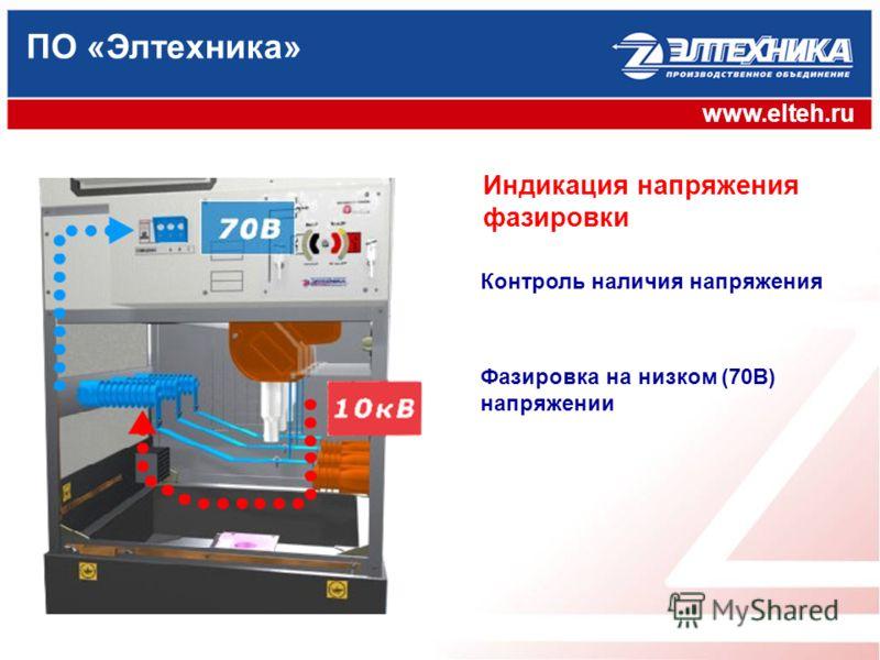 ПО «Элтехника» www.elteh.ru Контроль наличия напряжения Фазировка на низком (70В) напряжении Индикация напряжения фазировки