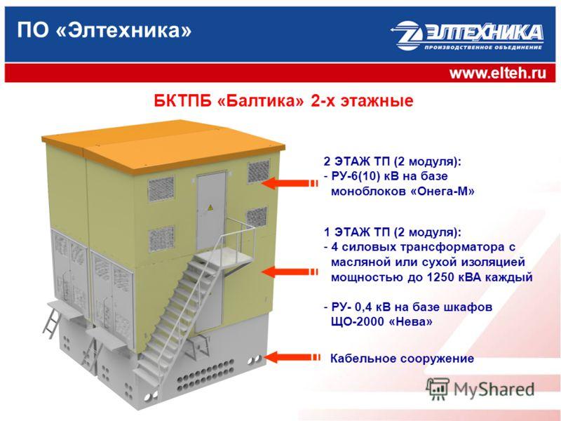 ПО «Элтехника» www.elteh.ru 1 ЭТАЖ ТП (2 модуля): - 4 силовых трансформатора с масляной или сухой изоляцией мощностью до 1250 кВА каждый - РУ- 0,4 кВ на базе шкафов ЩО-2000 «Нева» Кабельное сооружение 2 ЭТАЖ ТП (2 модуля): - РУ-6(10) кВ на базе моноб