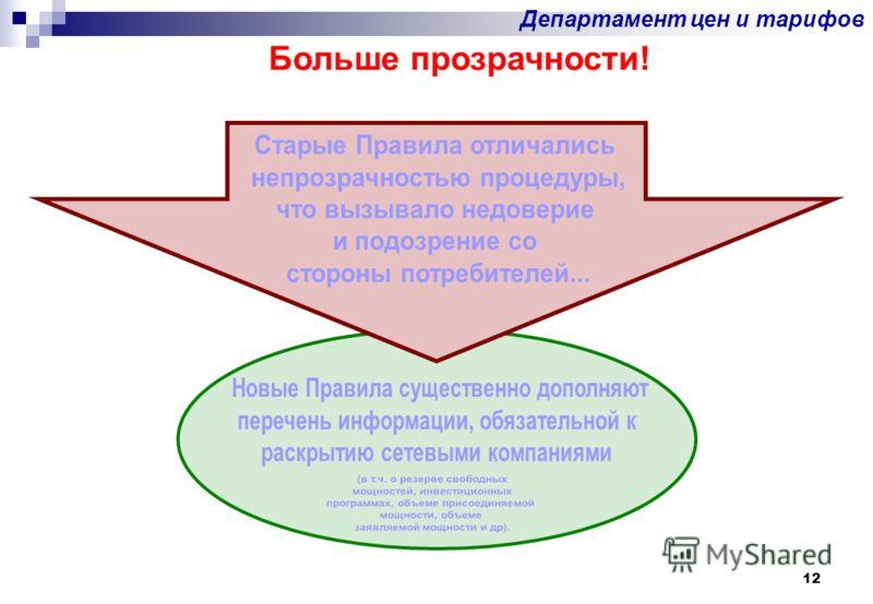 12 Больше прозрачности! Департамент цен и тарифов