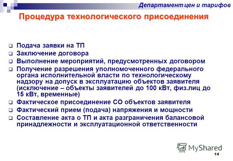 14 Процедура технологического присоединения Подача заявки на ТП Заключение договора Выполнение мероприятий, предусмотренных договором Получение разрешения уполномоченного федерального органа исполнительной власти по технологическому надзору на допуск