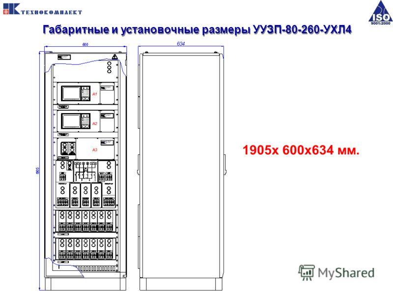 Габаритные и установочные размеры УУЗП-80-260-УХЛ4 1905x 600x634 мм.