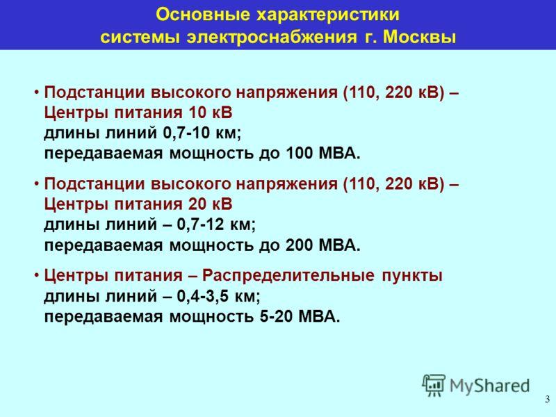 3 Основные характеристики системы электроснабжения г. Москвы Подстанции высокого напряжения (110, 220 кВ) – Центры питания 10 кВ длины линий 0,7-10 км; передаваемая мощность до 100 МВА. Подстанции высокого напряжения (110, 220 кВ) – Центры питания 20