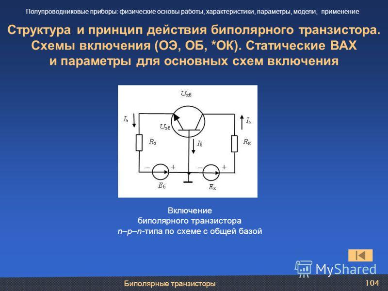 Биполярные транзисторы 104 Структура и принцип действия биполярного транзистора. Схемы включения (ОЭ, ОБ, *ОК). Статические ВАХ и параметры для основных схем включения Полупроводниковые приборы: физические основы работы, характеристики, параметры, мо