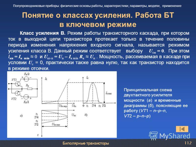 Биполярные транзисторы 112 Понятие о классах усиления. Работа БТ в ключевом режиме Полупроводниковые приборы: физические основы работы, характеристики, параметры, модели, применение Класс усиления В. Режим работы транзисторного каскада, при котором т