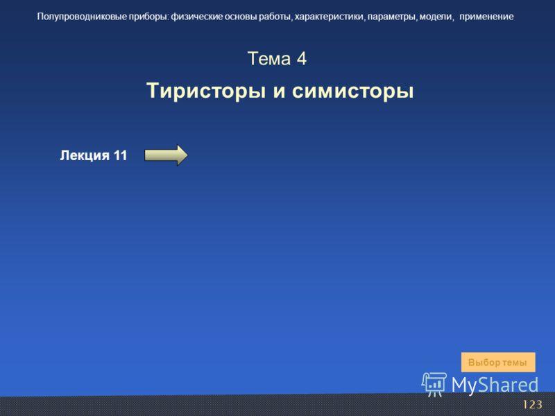 123 Тема 4 Тиристоры и симисторы Лекция 11 Выбор темы Полупроводниковые приборы: физические основы работы, характеристики, параметры, модели, применение