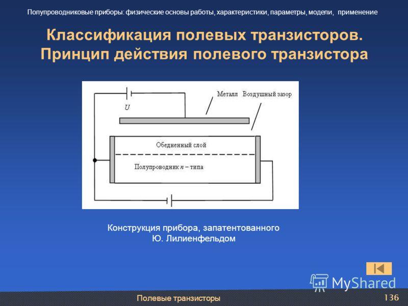 Полевые транзисторы 136 Классификация полевых транзисторов. Принцип действия полевого транзистора Полупроводниковые приборы: физические основы работы, характеристики, параметры, модели, применение Конструкция прибора, запатентованного Ю. Лилиенфельдо