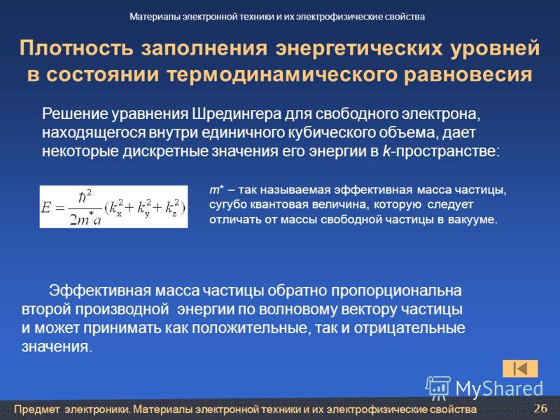 Предмет электроники. Материалы электронной техники и их электрофизические свойства 26 Плотность заполнения энергетических уровней в состоянии термодинамического равновесия Эффективная масса частицы обратно пропорциональна второй производной энергии п