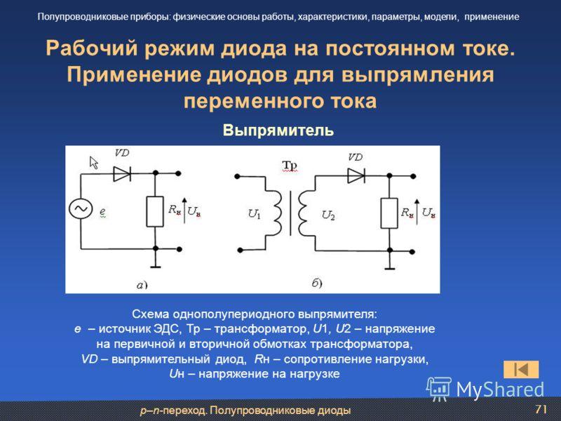 p–n-переход. Полупроводниковые диоды 71 Рабочий режим диода на постоянном токе. Применение диодов для выпрямления переменного тока Полупроводниковые приборы: физические основы работы, характеристики, параметры, модели, применение Выпрямитель Схема од