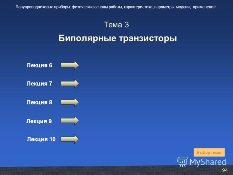 94 Тема 3 Биполярные транзисторы Лекция 6 Лекция 7 Выбор темы Полупроводниковые приборы: физические основы работы, характеристики, параметры, модели, применение Лекция 8 Лекция 9 Лекция 10