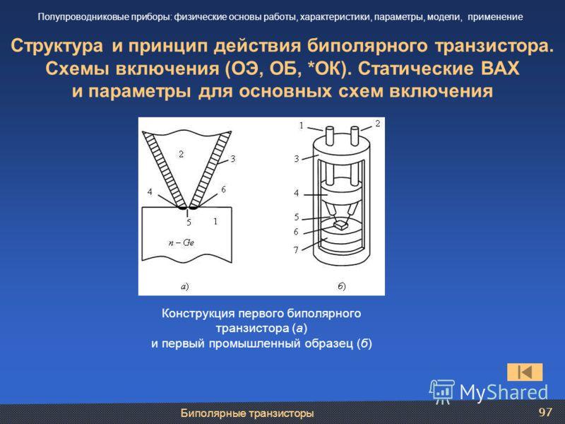 Биполярные транзисторы 97 Структура и принцип действия биполярного транзистора. Схемы включения (ОЭ, ОБ, *ОК). Статические ВАХ и параметры для основных схем включения Полупроводниковые приборы: физические основы работы, характеристики, параметры, мод
