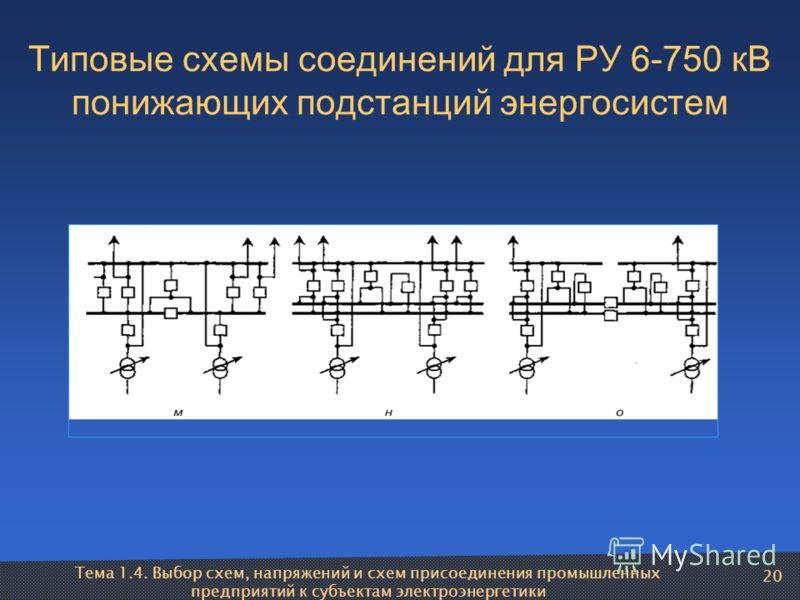 Тема 1.4. Выбор схем, напряжений и схем присоединения промышленных предприятий к субъектам электроэнергетики 20 Типовые схемы соединений для РУ 6-750 кВ понижающих подстанций энергосистем