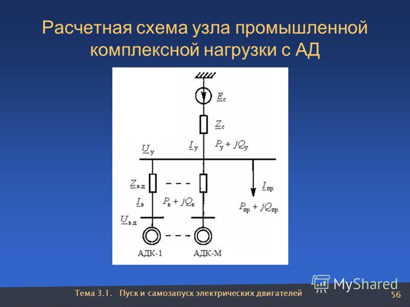 Тема 3.1. Пуск и самозапуск электрических двигателей 56 Расчетная схема узла промышленной комплексной нагрузки с АД