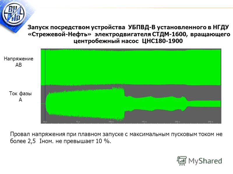 Запуск посредством устройства УБПВД-В установленного в НГДУ «Стрежевой-Нефть» электродвигателя СТДМ-1600, вращающего центробежный насос ЦНС180-1900 Провал напряжения при плавном запуске с максимальным пусковым током не более 2,5 Iном. не превышает 10