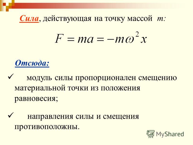 Отсюда: модуль силы пропорционален смещению материальной точки из положения равновесия; направления силы и смещения противоположны. Сила, действующая на точку массой m: