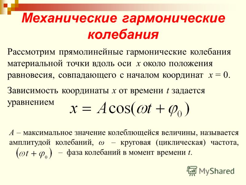 Механические гармонические колебания Рассмотрим прямолинейные гармонические колебания материальной точки вдоль оси х около положения равновесия, совпадающего с началом координат х = 0. Зависимость координаты х от времени t задается уравнением А – мак
